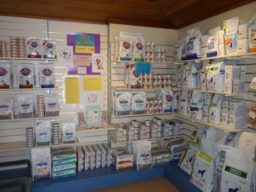 Nutrition products on display at Pet Doctor