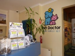 Pet Doctor Logo in reception area