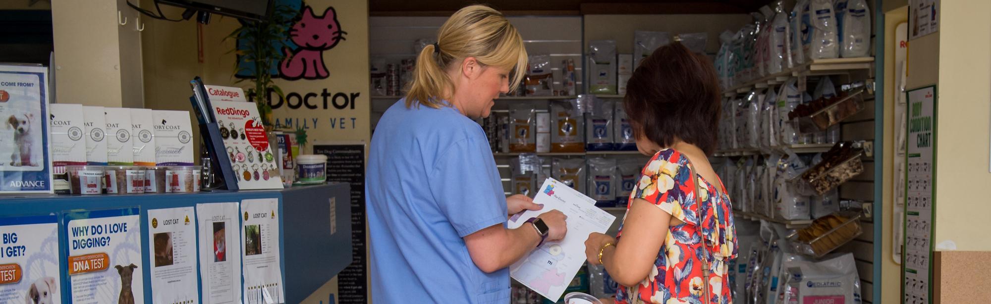 reception at pet doctor vet