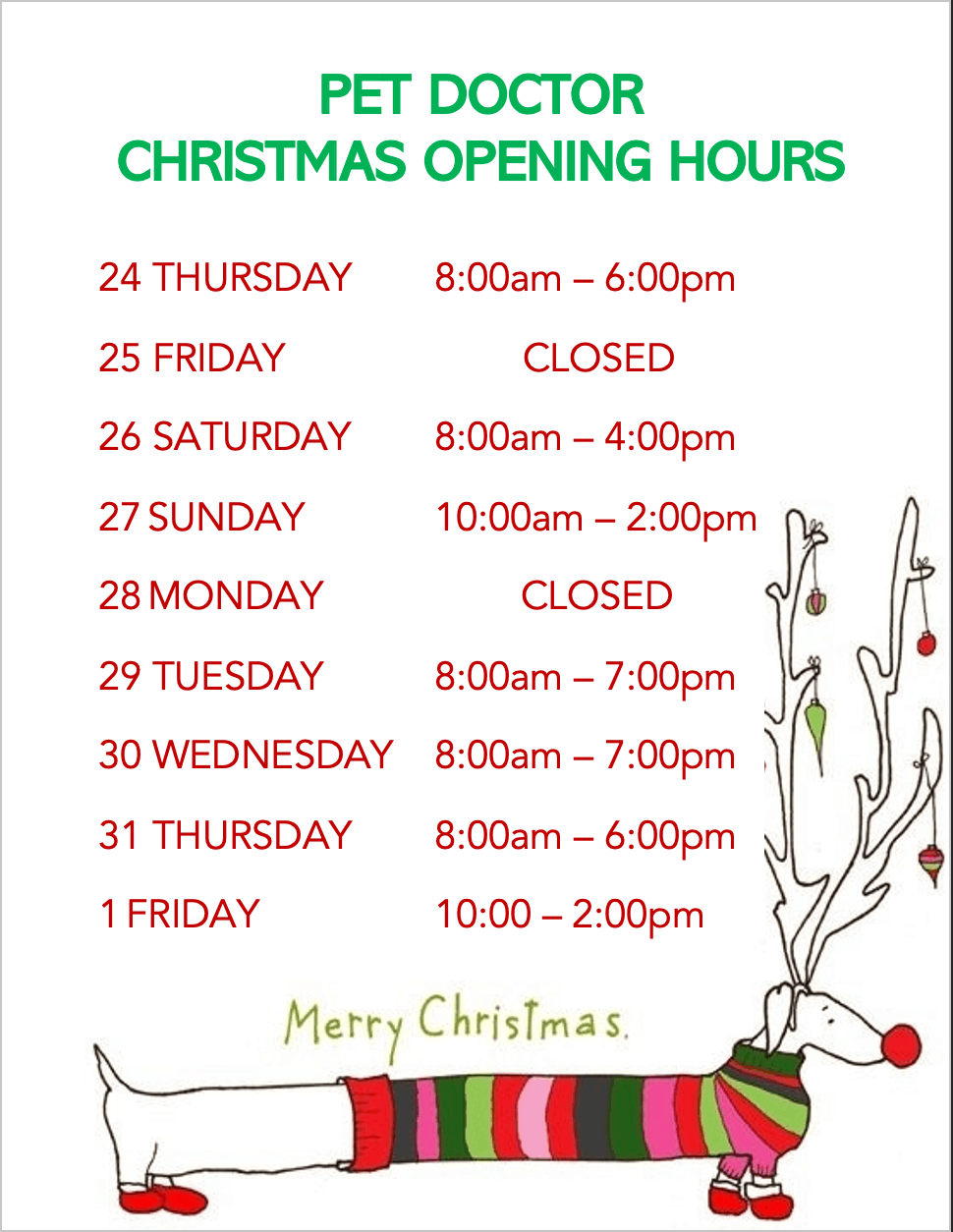 Pet Doctor Christmas Trading Hours